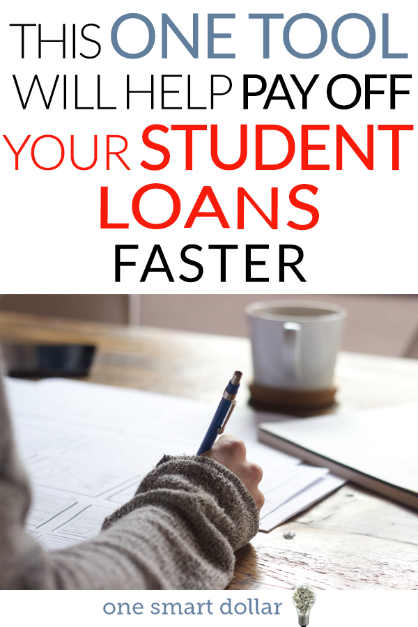 Dealing with student loan debt? Here is one tool that will help you pay it off fast. #StudentLoans #debt #DebtFree #DebtPaydown